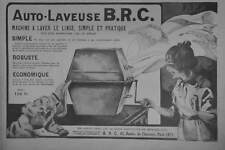 PUBLICITÉ DE PRESSE 1921 AUTO-LAVEUSE B.R.C. MACHINE A LAVER LE LINGE
