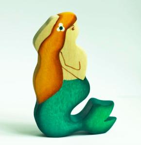 Wooden Mermaid Figure