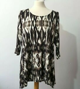 M&S  Size 16 Brown Beige Black  Stretch Tunic  Top Abstract Print