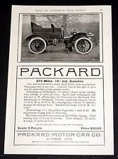 1903 OLD MAGAZINE PRINT AD, THE PACKARD MOTOR CAR, 273 MILES - AVERAGE 18 MPH!