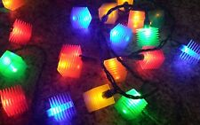RARE Vtg cube String LIGHTS Patio RV Camping Indoor Outdoor christmas party lego