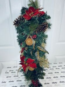 "Christmas Holiday Winter Floral Centerpiece Mantel Swag Wreath 32""Tall w/Feather"