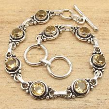 "925 Silver Plated Yellow CITRINE Gems TRADITIONAL Art Bracelet 7.5"" BESTSELLER"