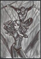a02284 Spiderman Mary Jane Original art 11x17 drawing ⭐AlbertStoneGallery⭐ Ladin