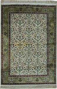 Silk Rug Hand-Knotted 4' X 6' Ivory - Light Green Color Run Refurbished Rug
