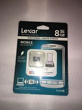 LEXAR 8 GB MOBILE MICRO SDHC MEMORY ,CLASS 10 HIGH SPEED , BRAND NEW