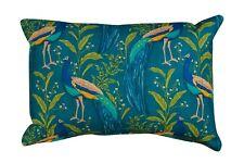 "Vibrant Peacock Rectangle Boudoir Cushion in Indigo & Teal. 17x12"" Double Sided."