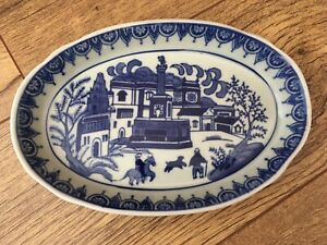"Chinese Blue And White Ceramic Oval Dish Marked Underneath 8"" Long Dog & Horse"
