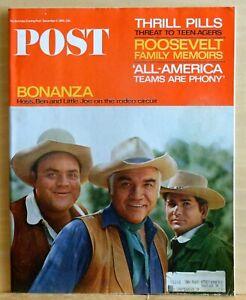Saturday Evening Post - Dec. 4, 1965 - Bonanza cast photo cover - Hoss, Ben, Joe