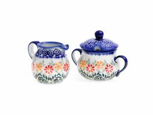 Bunzlauer Keramik Zuckerdose und Sahnegießer 2er Set Dekor JS14