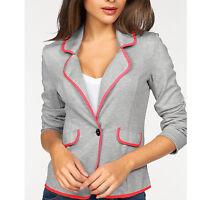 Gr.34/36 XS/S Sweatblazer BLAZER Jerseyblazer JACKE grau & grell neon pink