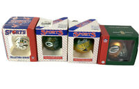 Vintage Green Bay Packers Ornaments Football Christmas Round 90's Glass Lot Of 4
