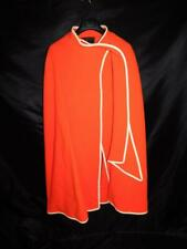 Vintage 60s Raincheetahs Naman S Orange Wool Cape Long Wrap Coat White Trim