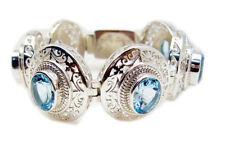 inviting Blue Topaz 925 Sterling Silver Blue Bracelet Natural india US gift