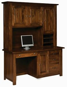 Amish Executive Computer Desk Hutch Transitional Solid Wood File Drawers 64""