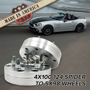 "x2 USA | 4x100 to 5x98 (124 Spider to 5x98 Alfa Romeo) | Adapters / 1.75"" Thick"