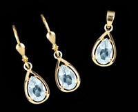 ECHT GOLD 💧 Set Tropfen Blautopas Ohrringe + Anhänger