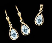 ECHT GOLD *** Set Blautopas Ohrringe + Anhänger