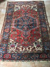 Vintage Blue Red Oriental Moroccan Rug 6.6  by 4.2  Feet - Carpet 202 by 127 cm