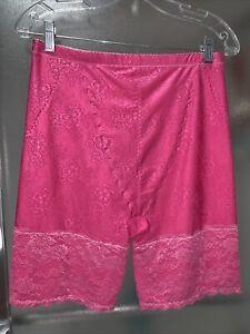 Sz XL 2X Pink Silky Nylon Long Leg Spandex Panty Girdle Floral Lace Sissy