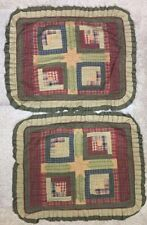 Victorian Heart Company VHC Plaid Quilt Shams Americana Country Cabin Chic Set 2