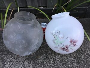 Pair of ceiling glass light covers