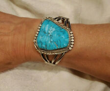 Old Pawn Navajo Sterling Silver Turquoise Cuff Bracelet