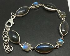 Labradorite marquise & square bracelet, Solid Sterling Silver, new. UK Seller.