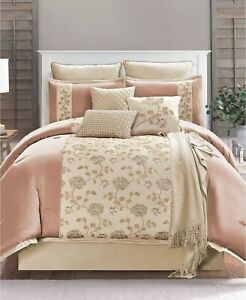 Hallmart Collectibles Ranelle 10-Pc. Floral Embroidered Comforter Set - CAL KING