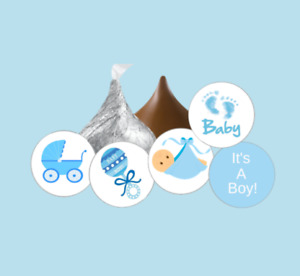 108 it's a boy baby shower hershey kiss stickers,favors,party,blue,gender reveal