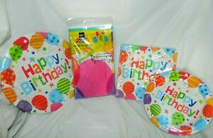 "Balloon ""Happy Birthday"" Party Set Plates, Napkins & Tablecover NEW"