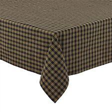 "Country Primitive Sturbridge Black Plaid Table Cloth Cover 60"" x 84 Rustic Decor"