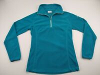 Columbia Fleece Half Zip Pullover Womens Small Teal Long Sleeve