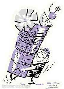 Big Hawaii Tiki Mug Sticker Decal Art Derek Yaniger DY3