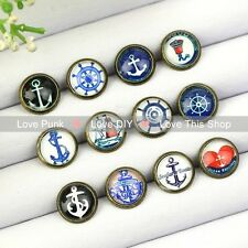 12pairs10mm Fashion Earrings Stud Earrings Glass cabochon Earring Anchor series