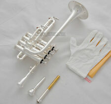Professional New Silver Piccolo Trumpet 4 Piston Horn Bb/A 2 Leadpipe Mouthpiece