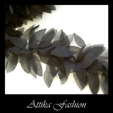 Midnight Black --- Chiffon Dress Lingerie Nightwear Designer Trim *per yard*