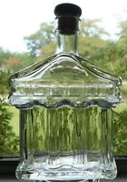Vintage  cork top clear 200 ml VE ITALY Memorial Shaped Empty Glass bottle Flask