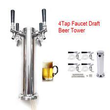 Top 304 Stainless Steel 4 Tap Faucet Draft Beer Tower Homebrew Barfor Kegerator