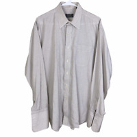 Gitman Bros Button Front Dress Shirt 16 34 Beige Brown Check Cotton French Cuff