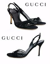 NEW GUCCI BLACK LEATHER SUEDE SHOES SANDALS 9.5