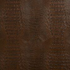G033 Brown, Crocodile Faux Leather Upholstery Vinyl By The Yard