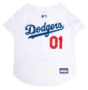 Pets First MLB Los Angeles Dodgers Screen Printed Baseball Dog Jersey - White