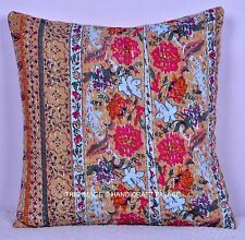 Beige Floral Print Cushion Pillow Cover Kantha Stitch Cotton Indian Throw 16""