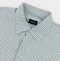 Ermenegildo Zegna Men's Long Sleeve Button Dress Shirt Gray/Blue Plaid • Large