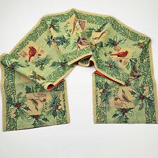 Holiday Birds Christmas Holly Cardinals Chickadees Tapestry Table Runner