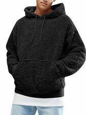 Autumn and winter men's Sherpa pullover hoodie sweatshirt pocket coat fuzzy fluf