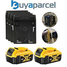 2 x Dewalt DCB184 5.0ah 18v XR Li-Ion Batteries & 4 x Battery Mounts Wall Shelf