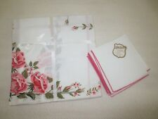 "NOS 5-Pc. ROSE FLORAL TEA SET--Home Beautiful Linens by Vickie--40"" x 40"" + 4"