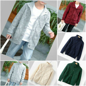 Boys Cardigan Autumn Sweater Long Sleeve Winter Knitted Jumper Age 2-9 years